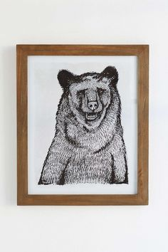 $79 4040 Locust Sketched Grizzly Framed Art Print