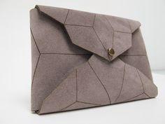geometric leather cardholder lasercut stonegrey от StAnderswo