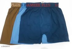 Trunks Trendy Men's Cotton Solid Trunks(Pack Of 3) Fabric: Cotton Waist Size: S - 80  M - 85 cm L - 90 cm XL - 95 cm XXL - 100 cm Length: Up To 8 in To 10 in Type: Stitched Description: It Has 3 Pieces Of Men's Trunks Pattern: Solid Country of Origin: India Sizes Available: S, M, L, XL, XXL   Catalog Rating: ★4 (496)  Catalog Name: Trendy Men's Cotton Solid Trunks Vol 13 CatalogID_805912 C68-SC1216 Code: 582-5409513-