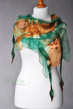 FREE SHIPPING Hand felted nuno scarf merino wool by ShellenD