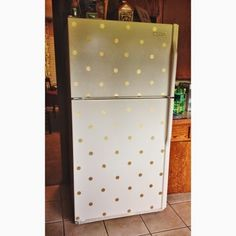 """Well folks, we are week 2 into summer and I'm staying true to my mantra this summer, """"Use What You Have."""" Ever since I spotted this fridge. Top Freezer Refrigerator, Deco, Entrepreneurship, Kitchen Ideas, Polka Dots, Birds, Kitchens, Decor, Bird"""