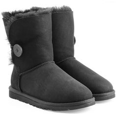 UGG Australia Bailey Button Suede Boots ($195) ❤ liked on Polyvore featuring shoes, boots, black, round toe boots, black shoes, calf length boots, button boots and round toe shoes