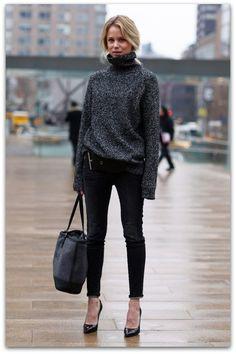 16 способов, как стиль негабаритный свитер