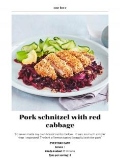 Pork schnitzel with red cabbage Slimming World Pork Recipes, Pickled Red Cabbage, A Food, Food And Drink, Pork Schnitzel, All Purpose Seasoning, Pork Loin, Wok, Tray Bakes