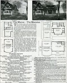 English Style - Tudor Homes - The Manse & Manseigneur - - 1916 Sterling System