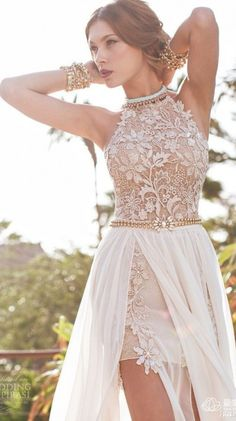 $ custom made 2015 Newest Style  Lace Appliques Beadings Sexy Long Chiffon Evening Dress