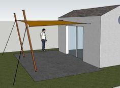 Toile d'ombrage avec 2 fixations murales et 2 mâts haubanés
