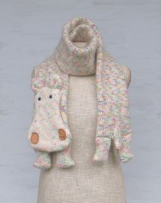 Woolen hippo — long animal scarf, hippo, white with colour additions, wool scarves, original, funny scarf, winter gift - pinned by pin4etsy.com
