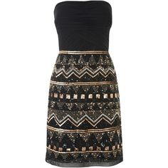 JS Collections Aztec Beaded Strapless Dress (280 VEF) ❤ liked on Polyvore featuring dresses, vestidos, robe, short dresses, black gold, clearance, black shift dress, short black cocktail dresses, beaded shift dress y mini dress