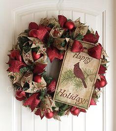 Holiday Wreath, Christmas Wreath, Cardinal Wreath, Christmas Cardinal Wreath, Christmas Evergreen Wreath, Cardinal Decor, Christmas Decor by CharmingBarnBoutique on Etsy
