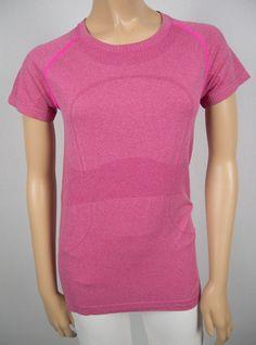 LULULEMON Pink Breathable Mesh Short Sleeve Shirt 8 M Run Walk X Static Top Yoga