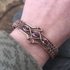 Wire Wrapped Bracelet  Copper Bracelet  Garnet by SweetWaterSilver