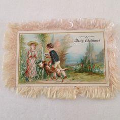 VTG  Victorian Silk Fringed 2-Sided Christmas Card -- LOVELY