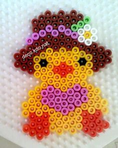 Easter chick with hat hama perler beads by Deco. Melty Bead Patterns, Hama Beads Patterns, Craft Patterns, Beading Patterns, Hama Beads Animals, Art Perle, Motifs Perler, Beading For Kids, Perler Bead Templates