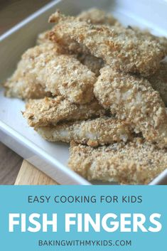 Homemade fish fingers are delicious and easy - a great meal for kids to make. Simply coat the fish in flour, beaten egg and breadcrumbs before baking in the oven. #homemade #recipe #recipe kids #family dinner #dinner #meal #easy #easy cooking for kids #kids cooking Quick Weeknight Dinners, Easy Family Dinners, Easy Meals, Homemade Recipe, Recipe Recipe, Homemade Fish Fingers, Cooking With Kids Easy, Dinner Meal, Kids Meals