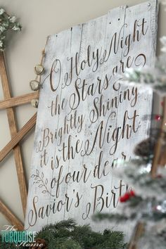 LOVE this! O Holy Night is my favorite Christmas song. | Personalize your Christmas decor with a DIY lettered pallet sign! Full tutorial at TheTurquoiseHome.com