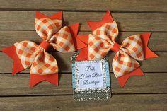 Cute fall pigtail hair bows orange gingham hair bows cute