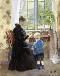 Marie Tannæs (1854-1939): Ved Vinduet Olje På Plate