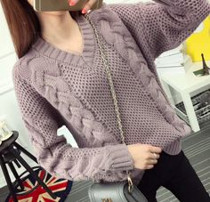 Women's One Size Soft Wool Warm Casual Cable Knit Pullover Sweater Casual Fall Outfits, Boho Outfits, Trendy Outfits, Crochet Sweater Design, Sweater Knitting Patterns, Sweater Weather, Pullover Sweaters, Cable Knit, Clothes