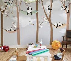 Papier peint enfant Panda dans les airs - (D#GA0BHKA)