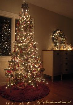 Kitchen Tree - tiny tree with old-fashioned lights | Christmas ...
