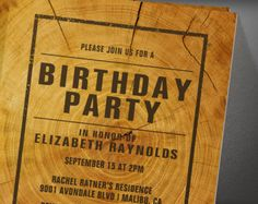 Rustic Tree Ring Birthday Party Invitation