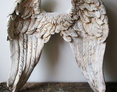 Large angel wings wall sculpture hand painted white accented gold ornate detailed shabby cottage chic wall decor anita spero design