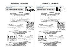 "Song: ""Yesterday"", the Beatles.Complete the lyrics with past form of the verb in the chart. - ESL worksheets"