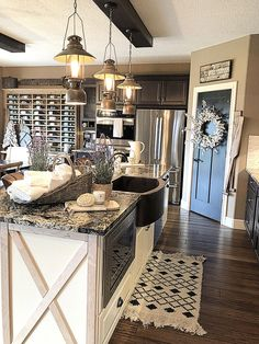 Are you searching for pictures for farmhouse kitchen? Browse around this site for perfect farmhouse kitchen inspiration. This unique farmhouse kitchen ideas will look totally amazing. Country Farmhouse Decor, Farmhouse Kitchen Decor, Modern Farmhouse, Farmhouse Sinks, Rustic Decor, Farmhouse Style, Eclectic Kitchen, Kitchen Modern, Country Primitive
