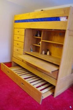 Wooden Sleeping Loft with Built-in Trundle Bed, Desk, and Storage