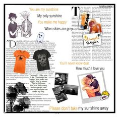 """Solangelo ☀️ 💀"" by thehalfbloodtimelord ❤ liked on Polyvore featuring art"