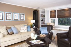 The perfect compromise for my husband & I: the warm neutrals I prefer and the blue he seems to want in every room!