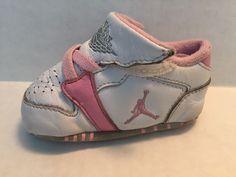 #nike  Air Jordan 1st Crib (CB) Baby Girl Shoes Size 2C White with Pink Trim Soft #Nike #CribShoes #jordans #babyshoes #babygirl