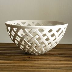 Hey, I found this really awesome Etsy listing at http://www.etsy.com/listing/118116192/hand-carved-porcelain-basket-weave-bowl