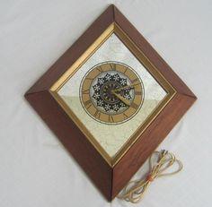 Bulova Vintage Dark Brown Wooden Wall Clock W Roman