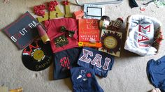 Everything for Little's basket except the ΣΑΙ tie blanket I made her! #SigmaAlphaIota