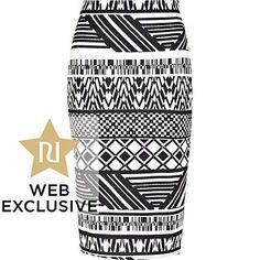 Black and white tribal print pencil skirt - tube / pencil skirts - skirts - women