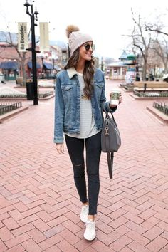 denim jacket / nike juvenate sneakers / winter fashion in boulder, colorado, college fashion outfit ideas for girls for women, fall winter essentials, Winter Fashion Outfits, Fall Winter Outfits, Look Fashion, Winter Wear, Womens Fashion, Winter Style, Mens Winter, Ladies Fashion, Fashion Clothes