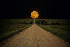 Super Moon -Road to Nowhere in eastern South Dakota