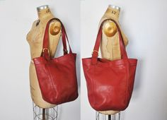 HUGE Coach Soho Market Duffel Tote Bag / distressed red leather by badbabyvintage on Etsy