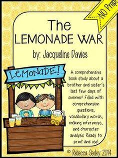 Lemonade wars novel study ideas