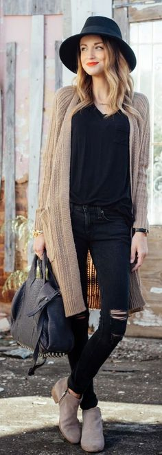 ♥Camel Long Line Cable Knit Cardi