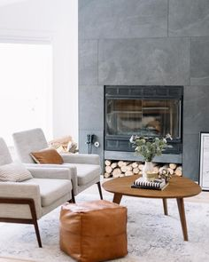 My Living Room Reveal on the Everygirl! Living Room Decor On A Budget, Living Room Modern, Home And Living, Living Room Designs, Living Room Furniture, Living Rooms, Simple Living, Grey Fireplace, Fireplace Design