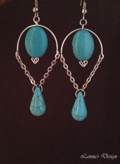 Free Shipping within USA Turquoise Inverted Teardrop Earrings by LanniesDesign