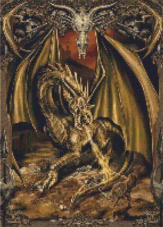 Cross Stitch Patterns - Fantasy/Fairies - DRAGON Fantasy - CROSS STITCH PATTERN CHART