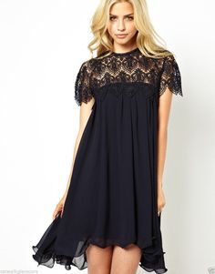 Lydia Bright Pleated Swing Flare Lace Crochet Top Mini Party Dress