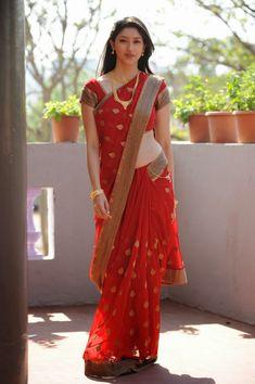 Actress Tanvi Vyas Saree Latest Cute Red Saree Stills - Cine Gallery Red Saree, Saree Look, Beautiful Girl Indian, Most Beautiful Indian Actress, Gorgeous Women, Beauty Full Girl, Beauty Women, Women's Beauty, Saree Models