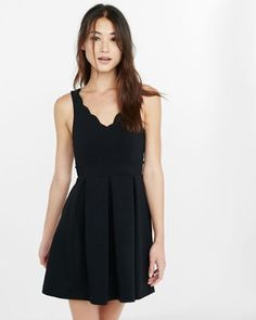 black scalloped fit and flare dress from EXPRESS
