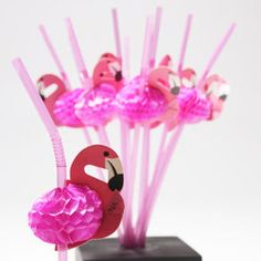 Tissue Flamingo Straws - want to incorporate these into the shower but not sure how without feeling tropical.lol
