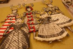Christmas Paper Dolls by Jackie Peters working with Character Constructions art stamps, multiple design collections.